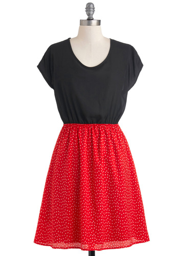 Change of Plans Dress - Mid-length, Multi, Red, Black, White, Buttons, Cutout, Casual, Short Sleeves, Twofer, Sheer