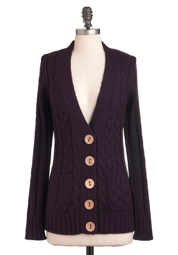 Your Fireside of the Story Cardigan in Plum - Purple, Solid, Buttons, Knitted, Long Sleeve, Mid-length
