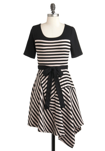 Make a Seam Dress - Black, Tan / Cream, Stripes, Casual, French / Victorian, A-line, 3/4 Sleeve, Fall, Short, Belted, Steampunk, Jersey, Cotton