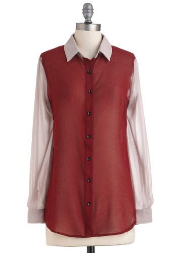 Strong as an Oxford Top - Red, Tan / Cream, Buttons, Long Sleeve, Sheer, Colorblocking, Mid-length, Button Down, Collared