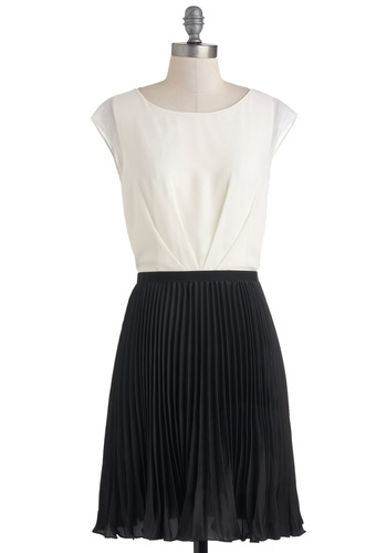 Classical Piano Concert Dress - Black, White, Pleats, A-line, Cap Sleeves, Party, Cocktail, Sheer