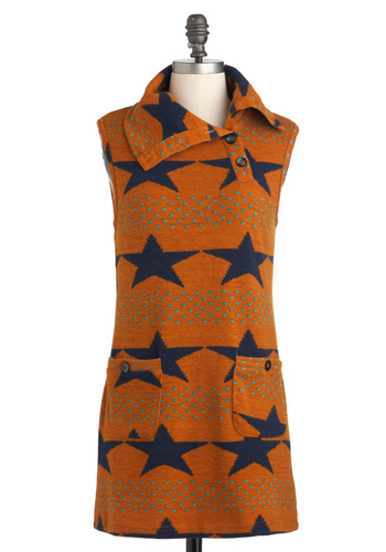 All-Star Band Top - Orange, Multi, Print, Buttons, Pockets, Casual, Sweater Dress, Sleeveless, Long