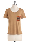 Pocketful of Surprise Top - Tan, Multi, Pockets, Casual, Short Sleeves, Solid, Knitted, Mid-length