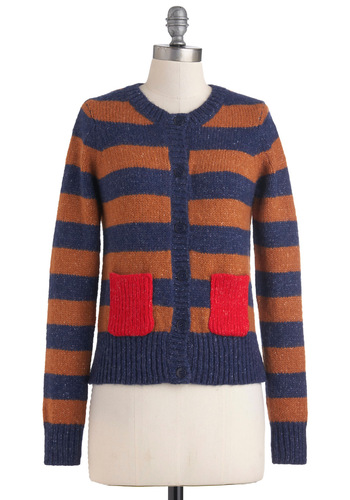 Knit's a New Day Cardigan - Short, Blue, Red, Brown, Stripes, Pockets, Long Sleeve, 90s, Scholastic/Collegiate, Fall, Winter, Button Down