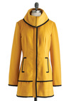 Taxi Me with You Coat by Tulle Clothing - 3, Yellow, Black, Pockets, Trim, Long Sleeve, Solid, Casual, Winter, Long, Tis the Season Sale