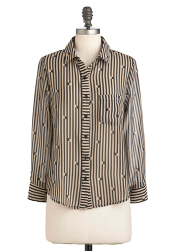 Usual Hangout Top - Black, Stripes, Buttons, Pockets, Long Sleeve, Sheer, Mid-length, Black, Casual, 80s, Button Down, Collared