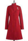Lauren Moffatt Cardinal Games Coat by Lauren Moffatt - 4, Red, Solid, Buttons, Long Sleeve, Party, Military, Luxe, Winter, Long