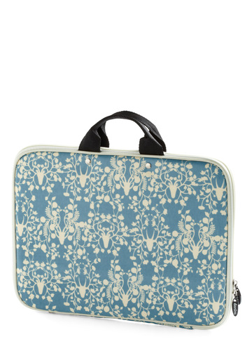 This is My Flourish Laptop Sleeve - Blue, Tan / Cream, Print, Work, Cotton