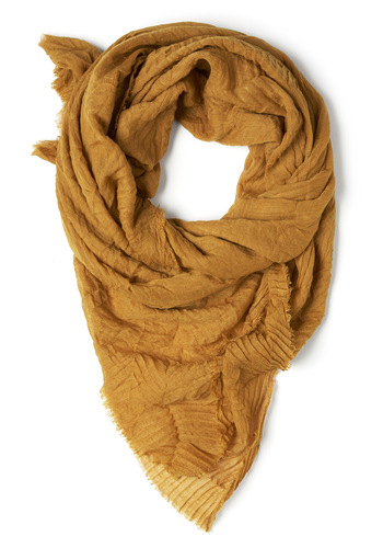 Leaf an Imprint Scarf in Dijon - Yellow, Solid, Casual
