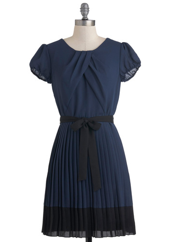 Demure the Merrier Dress - Mid-length, Blue, Black, Solid, Pleats, Belted, A-line, Short Sleeves, Party, Sheer, Work