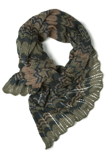 Riverbank On It Scarf - Green, Brown, Stripes, Knitted, Casual, Fall