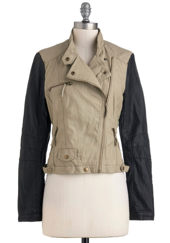 Always On the Go Jacket - Short, Black, Pockets, Long Sleeve, 2, Tan / Cream, Solid, Exposed zipper, Casual, Fall, Faux Leather