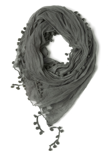 Pom and Dance Scarf in Slate - Grey, Poms, Solid