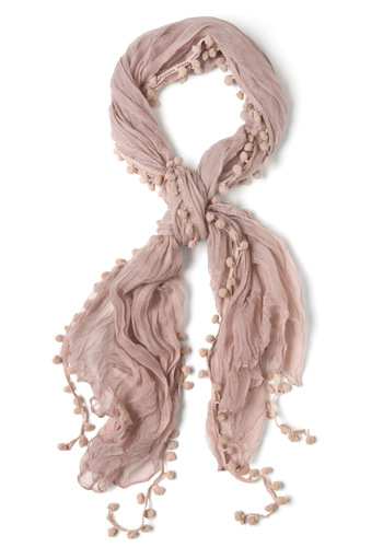 Pom and Dance Scarf in Blush - Pink, Poms, Solid