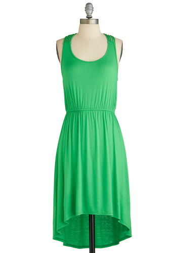 How You Bean? Dress - Mid-length, Green, Solid, Casual, High-Low Hem, Sleeveless, Summer, Woven, Jersey, Tis the Season Sale, Scoop