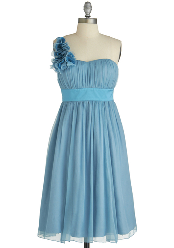 blue Dress - Long, Blue, Solid, Flower, Wedding, Empire, One Shoulder, Ruching, Cocktail, Sweetheart, Prom, Special Occasion, Bridesmaid, Exclusives