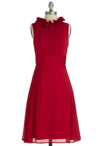 Fashion Show Hostess Dress - Long, Red, Solid, Pleats, Wedding, Party, A-line, Sleeveless, Ruffles, Cocktail, Holiday Party, Special Occasion, Bridesmaid