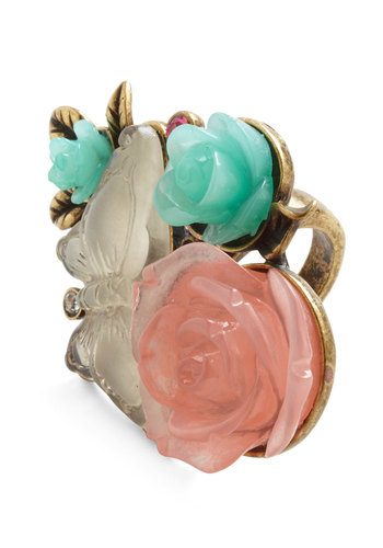 Dollhouse Garden Ring - Multi, Green, Pink, White, Gold, Flower, Fairytale, Statement, Pastel