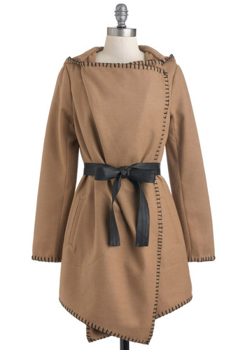 Couture de Force Coat by BB Dakota - Brown, Long Sleeve, 2, Black, Solid, Belted, Casual, Rustic, Fall, Long