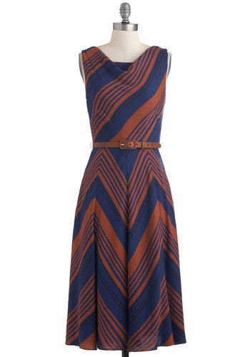 Inclined to Agree Dress by Eva Franco - Blue, Brown, Stripes, Luxe, Shift, Sleeveless, Long, Belted, Work, Fall, Cowl, Chevron