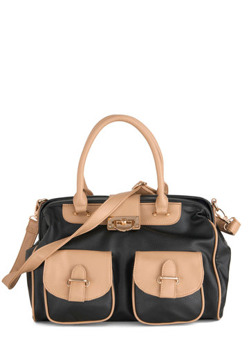 The Doctorate Is In Bag - Black, Tan / Cream, Solid, Trim, Casual, Scholastic/Collegiate, Faux Leather