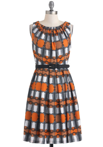 Life of the Leopard-y Dress by Eva Franco - Multi, Orange, Black, White, Print, 60s, A-line, Sleeveless, Mid-length, Pleats, Belted, Work, Fall, Party, Cocktail, Fit & Flare