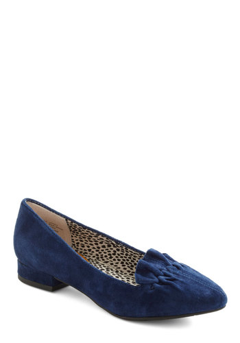 It's Scrunch Time Shoe by BC Shoes - Blue, Solid, Ruffles, Vintage Inspired, 90s, Leather, Low