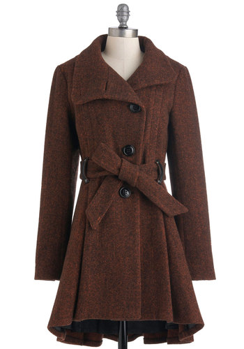 Brownstone Boulevard Coat by Steve Madden - Brown, Solid, Buttons, Long Sleeve, Winter, Belted, 4, Orange, Long