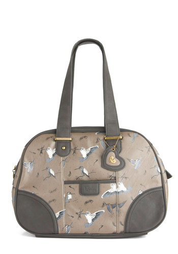 Up-and-Hummingbird Bag by Yumi - Tan, Blue, White, Print with Animals, Casual, Faux Leather