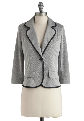 True to Yourself Blazer - Grey, Black, Trim, Menswear Inspired, Long Sleeve, Short, Work, Casual, 1