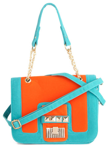 Purely Effervescent Bag - Orange, Blue, Chain, Studs, Casual, Neon