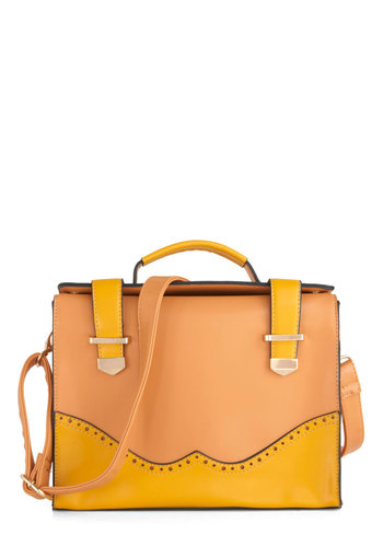 Earn Your Wingtips Bag - Yellow, Orange, Buckles, Work, Casual, Colorblocking, Scholastic/Collegiate, Faux Leather