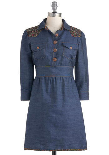 Sewing League Dress in Denim - Blue, Multi, Solid, Buttons, Casual, Shift, Long Sleeve, Fall, Denim, Mid-length, Rustic, Cotton, Button Down, Collared
