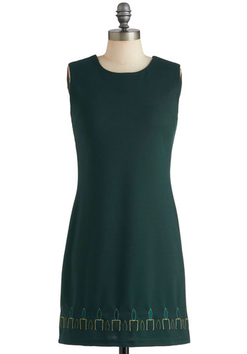 Claim to Flame Dress - Mid-length, Green, Yellow, Embroidery, Exposed zipper, Shift, Sleeveless, Holiday Party, Cocktail
