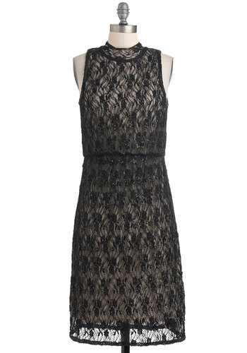 Evening Reception Dress - Long, Black, Beads, Cutout, Lace, Formal, Sheath / Shift, Sleeveless, Wedding, Party, Holiday Party
