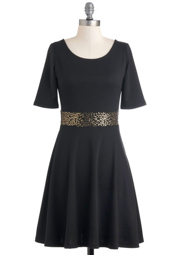 Just Awestruck Dress - Black, Solid, Party, A-line, 3/4 Sleeve, Mid-length, Holiday Party, Jersey, Fit & Flare, Backless, Sequins