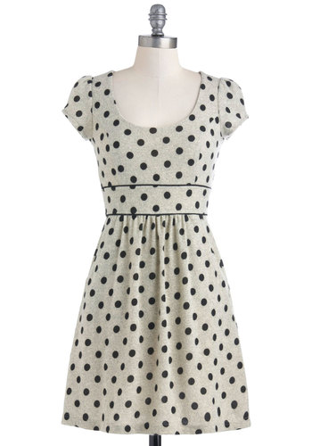 Professional Field Trip Dress - Black, Polka Dots, Casual, A-line, Cap Sleeves, Mid-length, Grey, Pockets