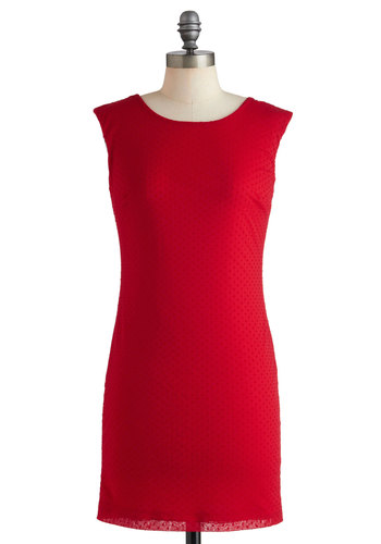 That's Just the Zing Dress - Red, Solid, Party, Mini, Sleeveless, Cocktail, Mid-length, Sheath / Shift