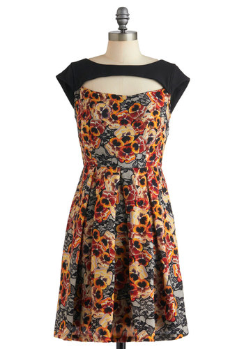 Pansy Party Dress by Eva Franco - Multi, Floral, Pleats, Party, A-line, Sleeveless, Fall, Mid-length, Cutout, Film Noir, Vintage Inspired, Luxe, French / Victorian, Fit & Flare
