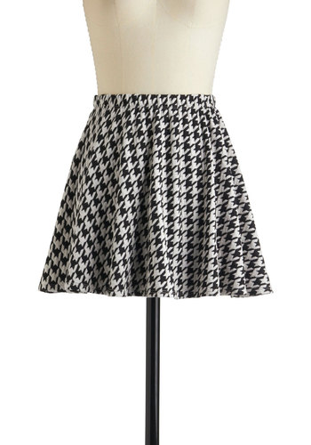 School Maze Skirt - Black, White, Houndstooth, A-line, Casual, Short
