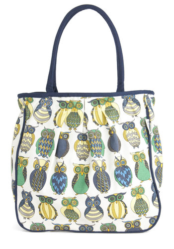 Owl the Better Bag - Multi, Print with Animals, White, Casual, Owls, Quirky, Cotton