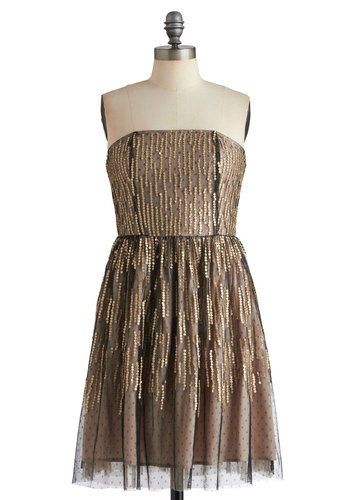 Spot a Shooting Star Dress - Tan / Cream, Sequins, Party, A-line, Strapless, Black, Gold, Formal, Cocktail, Holiday Party, Sheer, Mid-length