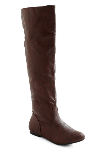 Get Stitched Quick Boot in Brown - Brown, Solid, Casual, Rustic, Faux Leather, Flat