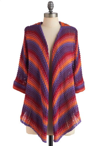 Bus Friends Cardigan - Short, Orange, Purple, Pink, Knitted, Multi, Red, Stripes, Casual, 3/4 Sleeve, Fall, Sheer, Tis the Season Sale