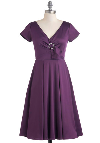Quintessence of Style Dress in Amethyst - Purple, Solid, Rhinestones, Party, A-line, Short Sleeves, Wedding, Film Noir, Vintage Inspired, Luxe, Long, Cocktail, Holiday Party, Fit & Flare, V Neck