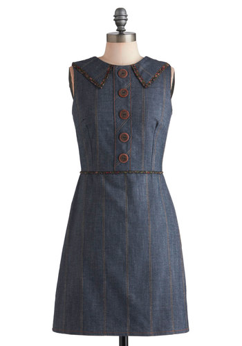 School Daze Dress in Denim - Blue, Buttons, Casual, Shift, Sleeveless, Mid-length, Fall, Cotton, Collared