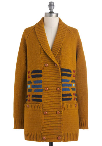 Pendleton Cabin Fervor Cardigan by Pendleton - Tan, Red, Blue, Grey, Buckles, Pockets, Long Sleeve, Fall, Winter, Casual, Rustic, Button Down, V Neck