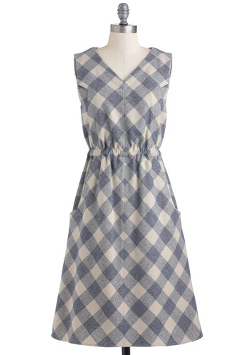 Pendleton Oregon Tale Dress by Pendleton - Blue, Tan / Cream, Checkered / Gingham, Pockets, Casual, A-line, Sleeveless, Long, Rustic
