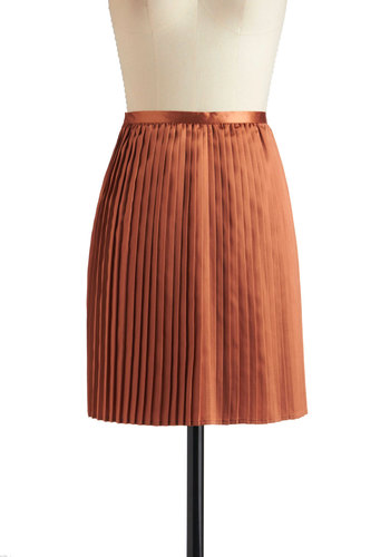 Satin and Spice Skirt - Mid-length, Orange, Solid, Pleats, A-line, Party, Vintage Inspired, Holiday Party