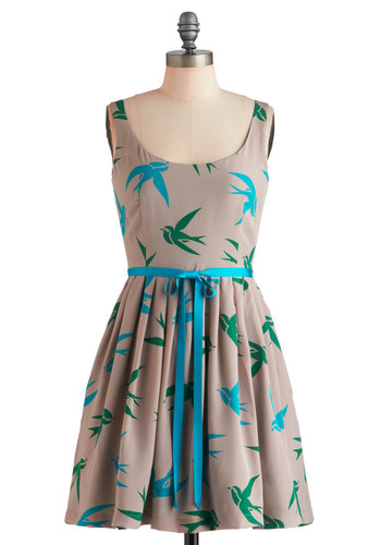Flight Hearted Dress by Corey Lynn Calter - Tan, Green, Blue, Print with Animals, Pleats, Pockets, Fit & Flare, Sleeveless, Mid-length, Casual, Exclusives, Cocktail, Scoop